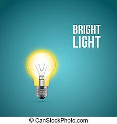 Light bulb on blue background. Vector