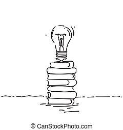 Light Bulb On Books Stack New Creative Idea Concept
