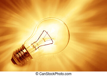 Light bulb on bright background