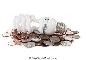 light bulb on coins