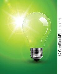 Light bulb on green