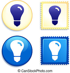 Light Bulb on Stamp and Button