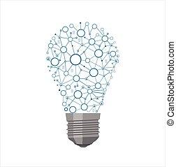 Light Bulb - Realistic lit light bulb isolated on white. ...