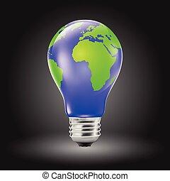 Light bulb shaped planet earth