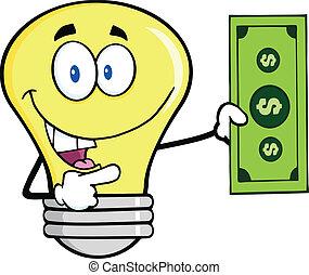 Light Bulb Showing A Dollar Bill - Light Bulb Character...
