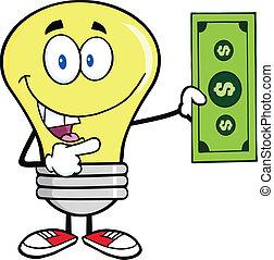 Light Bulb Showing A  Dollar Bill