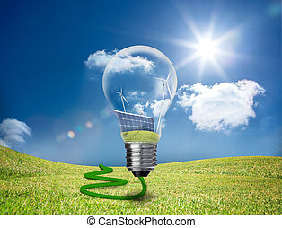 Light bulb showing solar panels and turbines floating in a...