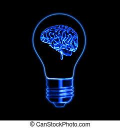 light bulb sign with brain over black background - light...