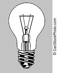 light bulb silhouette on gray background, vector illustration