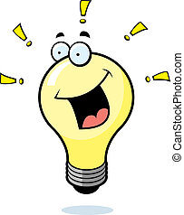 Light Bulb Smiling - A cartoon light bulb smiling and happy.