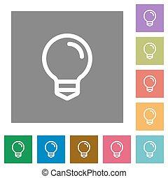 Light bulb square flat icons