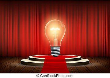 Light bulb stands on the stage with a curtain and a red carpet
