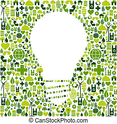 Light bulb symbol with green icons background