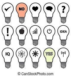 light bulb symbols with icons - light bulb symbols with ...