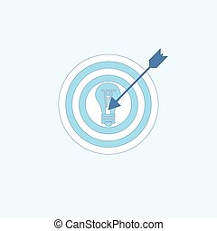 Light Bulb Target Icon New Idea Business Concept Thin Line