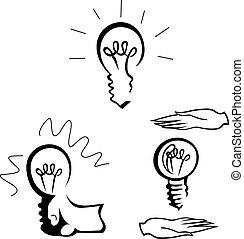Light Bulb. The idea of businesses. Vector illustration.
