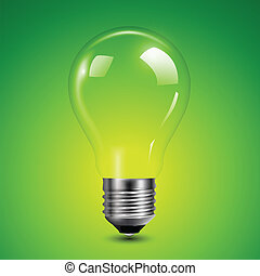Light bulb transparent on green background, vector...