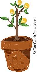 Light bulb tree in brown pot