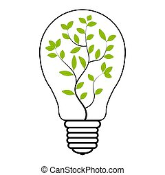 light bulb tree plant inside, vector light bulb with green plant symbol of eco energy saving and renewable energy, green electricity sign