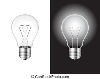 Two light bulbs on white and black background.