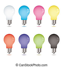 Collection of eight brightly coloured light bulbs with shadow