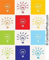 Light bulb vector icon set - hand drawn colorful doodle collection isolated on white with green, blue, dark denim, beige, red, orange and yellow background. Sign of ecology or creative thinking