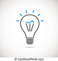 Light bulb vector icon,  idea concept. Vector  lamp sign