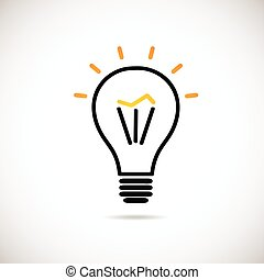 Light bulb vector icon in black and yellow colors. Vector...