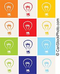 Light bulb vector icon set