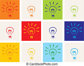 Light bulb vector icon sketch set