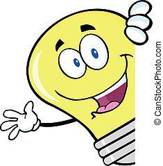 Light Bulb Waving Behind A Sign - Light Bulb Cartoon...