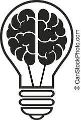 Light bulb with a brain icon. Vector illustration eps10