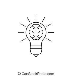 Light bulb with a brain inside line icon