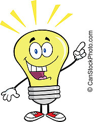 Light Bulb With A Bright Idea - Light Bulb Cartoon Character...