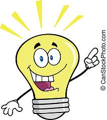 Light Bulb With A Bright Idea - Light Bulb Cartoon Mascot...