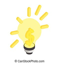 Light bulb with a dollar sign isometric 3d icon