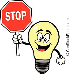 Light Bulb with a Stop Sign