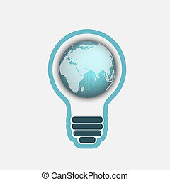 light bulb with a world globe