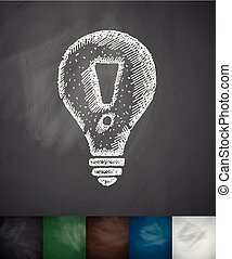 light bulb with an exclamation mark icon