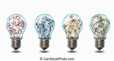 light bulb with banknotes