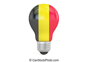 Light bulb with Belgium flag, 3D rendering isolated on white background