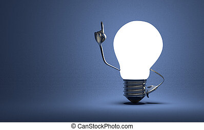 Light bulb with big hands in moment of insight on blue -...