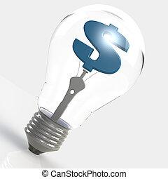 Light bulb with blue dollar