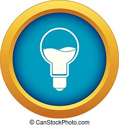 Light bulb with blue water inside icon blue vector isolated