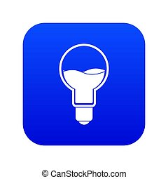 Light bulb with blue water inside icon digital blue