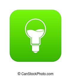 Light bulb with blue water inside icon digital green