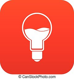 Light bulb with blue water inside icon digital red