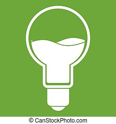 Light bulb with blue water inside icon green