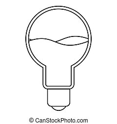 Light bulb with blue water inside icon outline