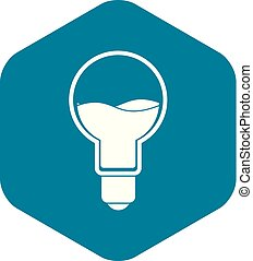 Light bulb with blue water inside icon simple